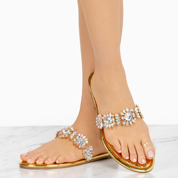 1cf88b6d8c7ffb Gold Crystal Embellished Clear Toe Ring Sandals